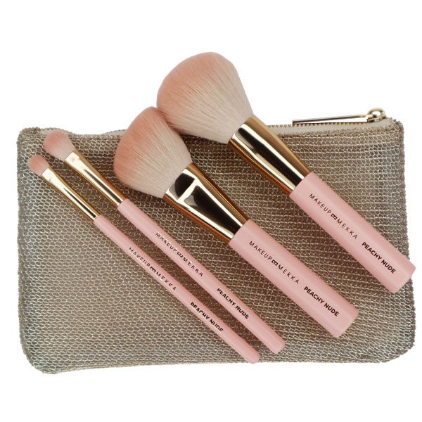 Peachy Nude brush set & Makeup Bag